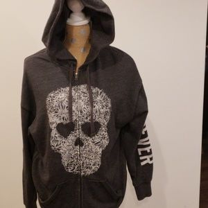 Victoria secret PINK skull embellished zip up hood